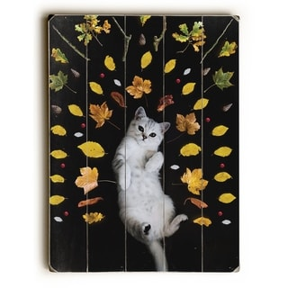 Autumn Cat - Multi  Planked Wood Wall Decor by OBC