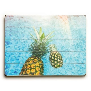 Floating Pineapple - Multi  Planked Wood Wall Decor by OBC