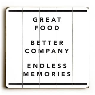 Great Food - White  Planked Wood Wall Decor by OBC