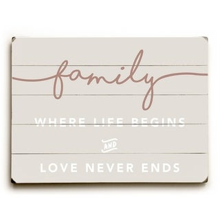 Family Where Life Begins - Tan  Planked Wood Wall Decor by OBC