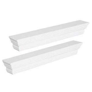 "HomCom 24"" 2 Piece Modern Floating Shelf Wall Mount Bookshelf - White"