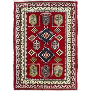 eCarpetGallery  Hand-knotted Royal Kazak Red Wool Rug - 4'8 x 6'6