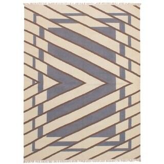 eCarpetGallery Flat-weave Ankara FW Cream, Dark Grey Wool Kilim - 5'7 x 7'7