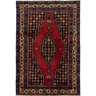 eCarpetGallery  Hand-knotted Hamadan Dark Navy, Red Wool Rug - 4'4 x 6'6