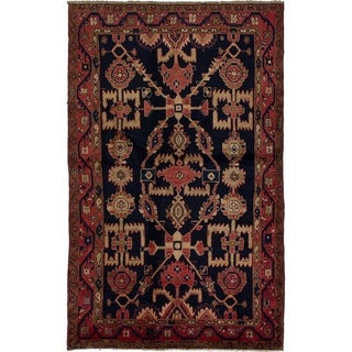 eCarpetGallery  Hand-knotted Hamadan Dark Navy Wool Rug - 4'4 x 7'5