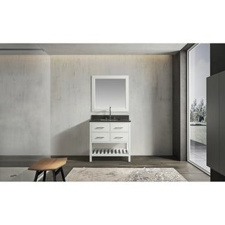 """London 36"""" Single Sink Vanity Set in White Finish with Gray Quartz Top"""
