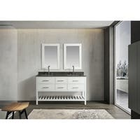 "London 61"" Double Sink Vanity Set in White Finish with Gray Quartz Top"