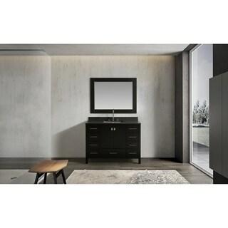 "London 48"" Single Sink Vanity Set in Espresso with Gray Quartz Top"