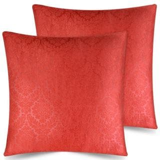 Ample Decor Embossed Accent Pillow Covers Case, Set of 2 (Red - 20 x 20)