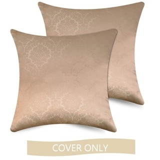 Ample Decor Embossed Accent Pillow Covers Case, Set of 2 (Beige - 18 x 18)
