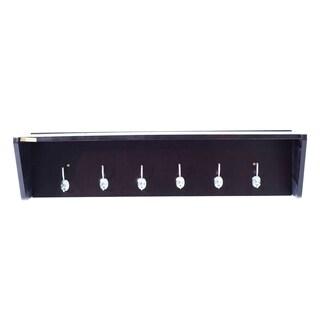 "HomCom 36"" Modern Floating Combination Wall Shelf Coat Rack - Dark Coffee Brown"