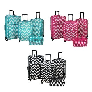 World Traveler Chevron 4-piece Rolling Expandable Spinner Luggage Set