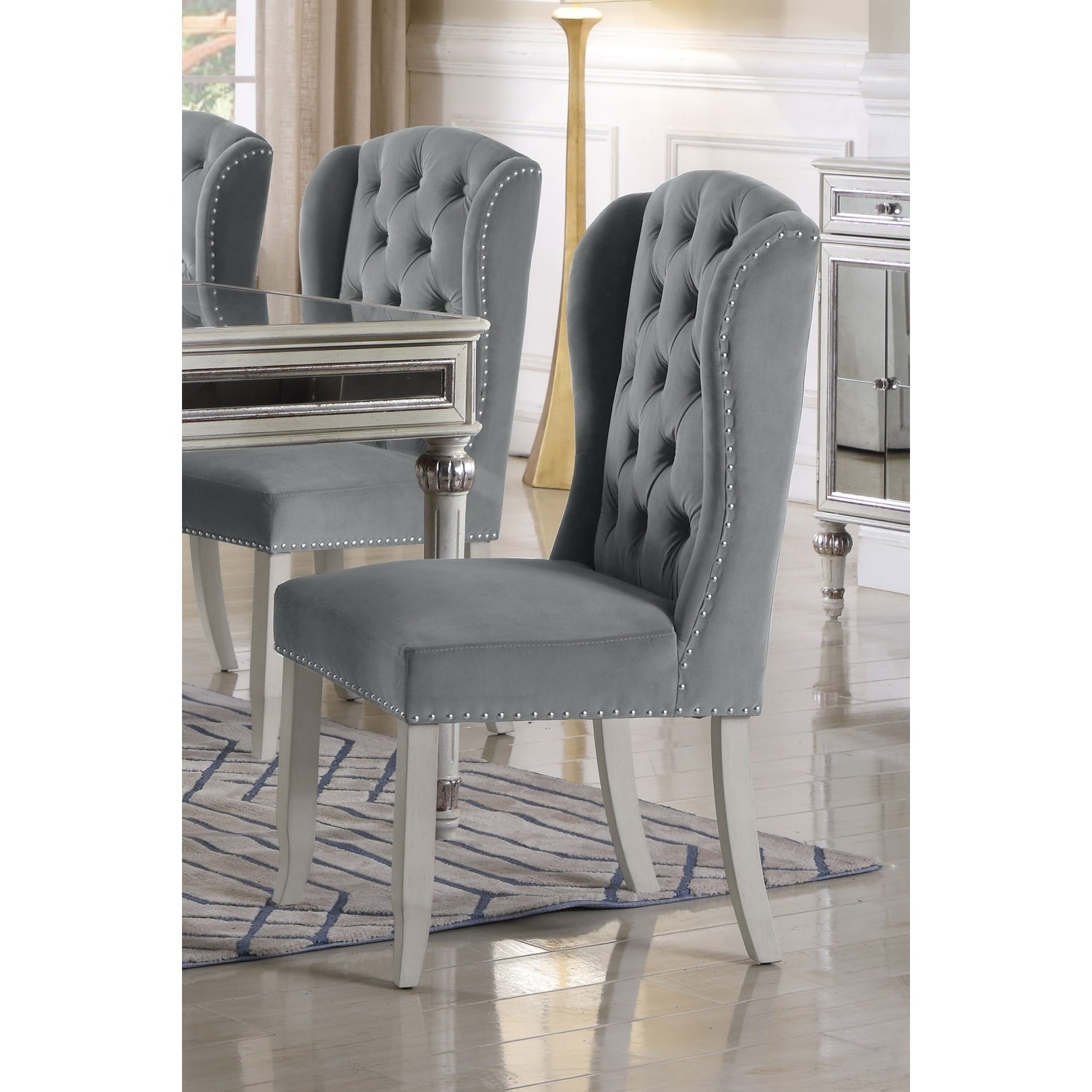 Best Master Furniture Wingback Side Chair (Set of 2) (Nailheads/Tufted - Traditional/French Country - Upholstered/Wood - Side Chairs - Beige)