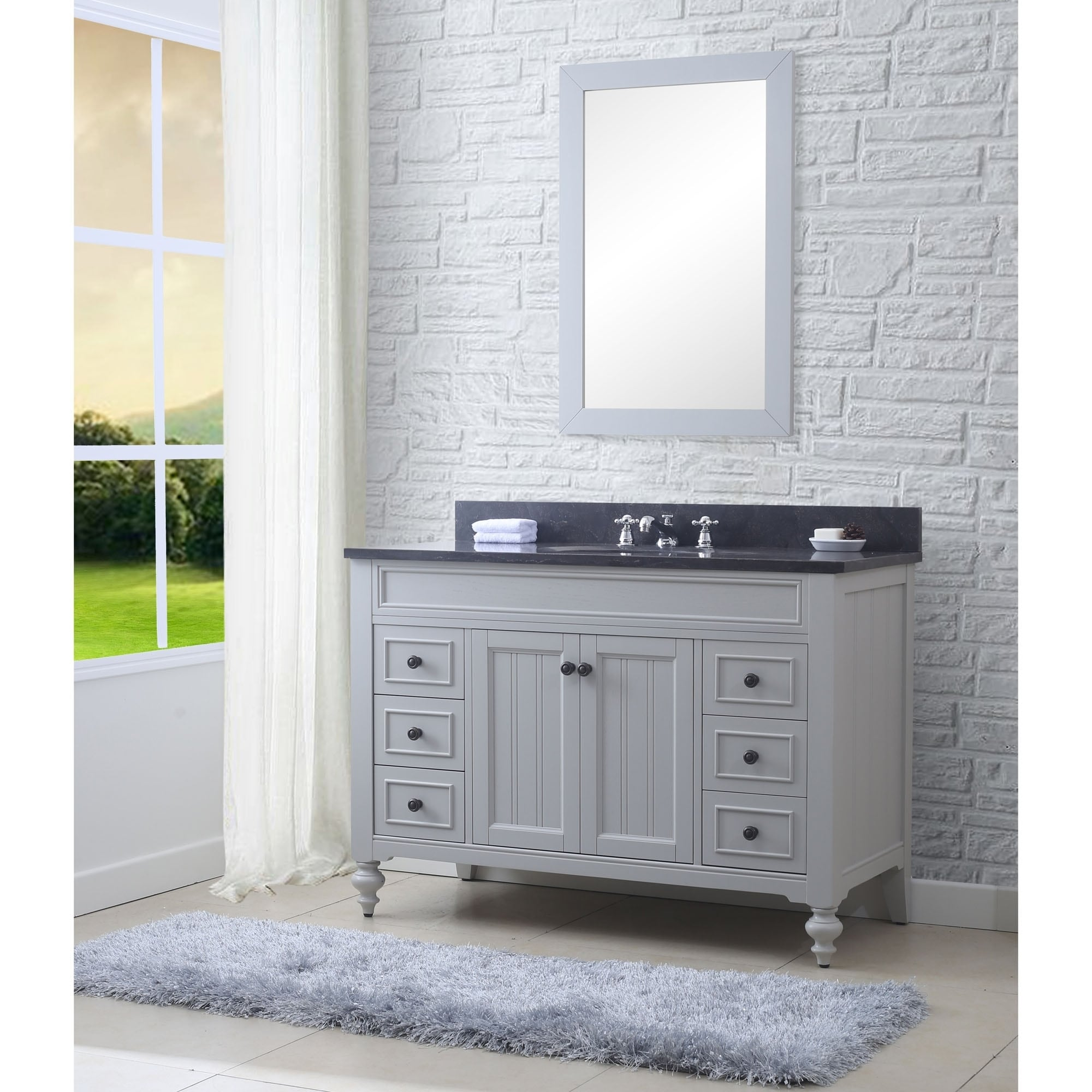 48 Inch Earl Grey Single Sink Bathroom Vanity From The Potenza Collection (vanity with 1 mirror)