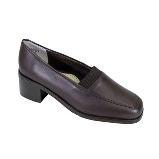 PEERAGE Phyllis Women Extra Wide Width Stack Heeled Leather Loafers