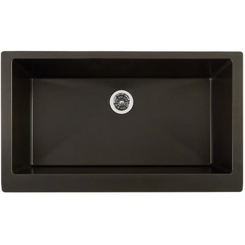 "Elkay Quartz Luxe 35-7/8"" x 20-15/16"" x 9"" Single Bowl Farmhouse Sink with Perfect Drain, Caviar"
