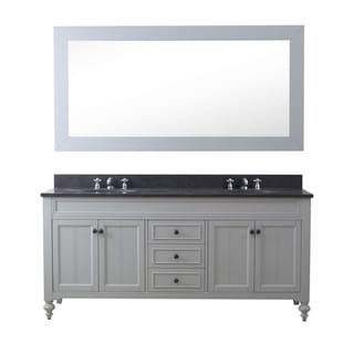 72 Inch Earl Grey Double Sink Bathroom Vanity From The Potenza Collection (vanity with 1 mirrors and 2 faucets)