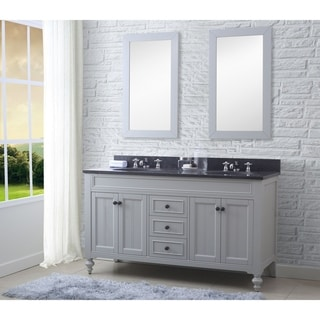 60-In Earl Grey Double Sink Bathroom Vanity From - Potenza Collection (vanity with 2 mirrors and 2 faucets)