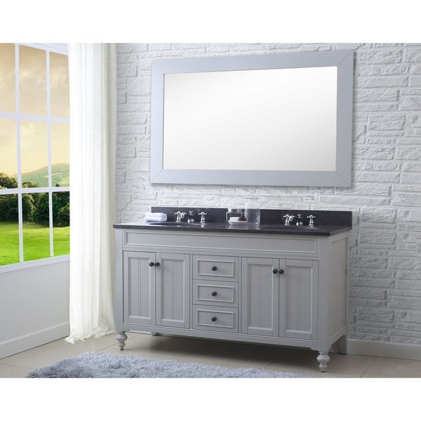 60-In Earl Grey Double Sink Bathroom Vanity From - Potenza Collection