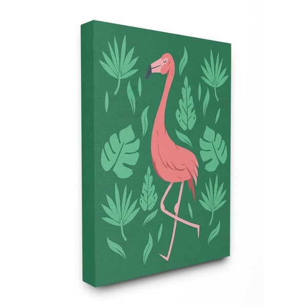 The Stupell Home Decor Collection Pink Flamingo Green Leaves Canvas 16 X 1 5