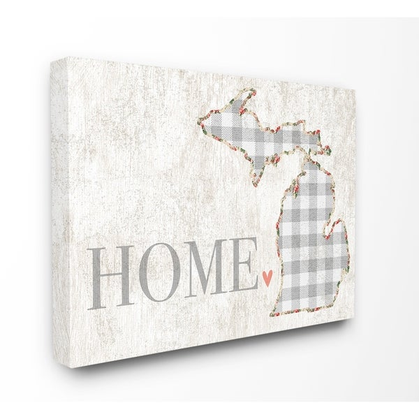 The Stupell Home Decor Collection Michigan Grey Gingham And Floral Heart Canvas