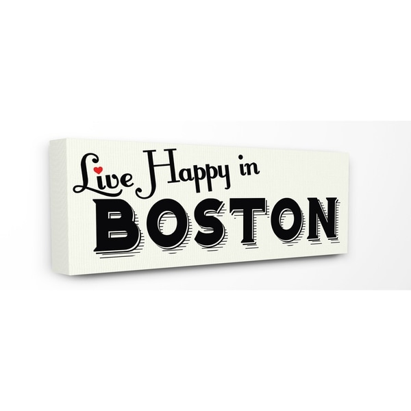 The Stupell Home Decor Collection Live Happy In Boston Red Heart Typography Canvas 10