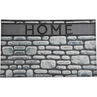 Evideco Outdoor Front Door Mat Home Stones Rubber Rug 30x18 Inch Grey