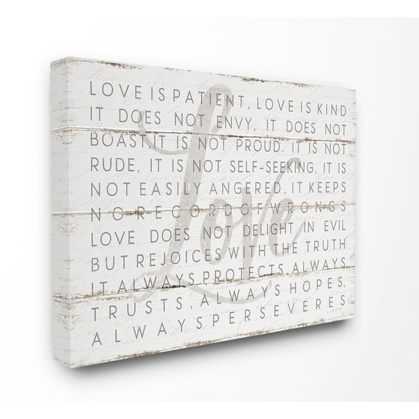 The Stupell Home Decor Collection Love Is Patient Grey On White Planked Look Canvas