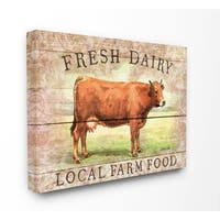 The Stupell Home Decor Collection Fresh Dairy Local Farm Cow Planked Look, Canvas, 16 x 1.5 x 20, Made in USA - Multi-color