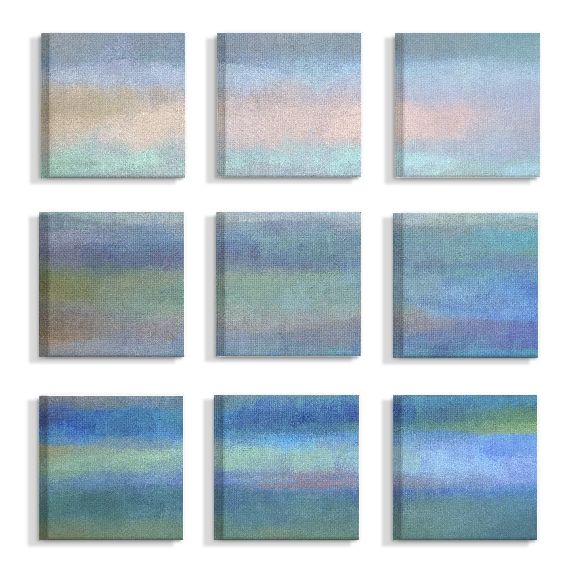 Set of 3 The Stupell Home Decor Collection Blue And Green Abstract Art on Canvas