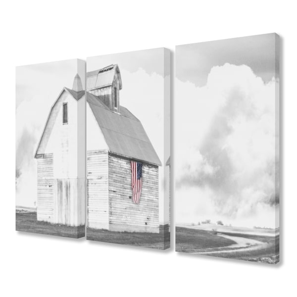 The Stupell Home Decor Collection White Barn With American Flag Black And Grey Canvas