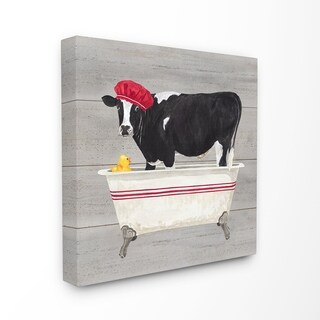 The Stupell Home Decor Collection Bath Time For Cows at Tub Red Black and Grey Painting, Canvas, 17 x 1.5 x 17, Made in USA
