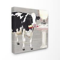 The Stupell Home Decor Collection Bath Time For Cows at Sink Red Black and GreyPainting, Canvas, 17 x 1.5 x 17, Made in USA