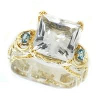 Michael Valitutti Palladium Silver Princess Cut White Quartz & Swiss Blue Topaz Ring