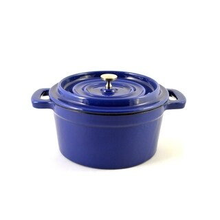 Mini Enamel Cast Iron Dutch Oven, Blue, 29Ozs