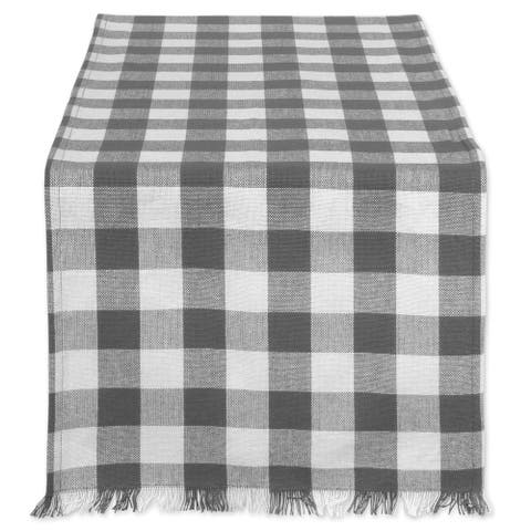 Design Imports Fringed Check Table Runner
