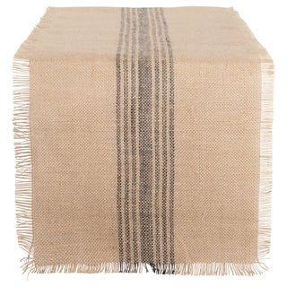 Design Imports Jute Burlap Middle Stripe Table Runner (0.25 inches high x 14 inches wide x 72 inches deep)