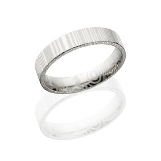 Authentic Damascus Steel Wedding Bands USA Made Rings Damascus Rings 5mm Wide Band - Silver