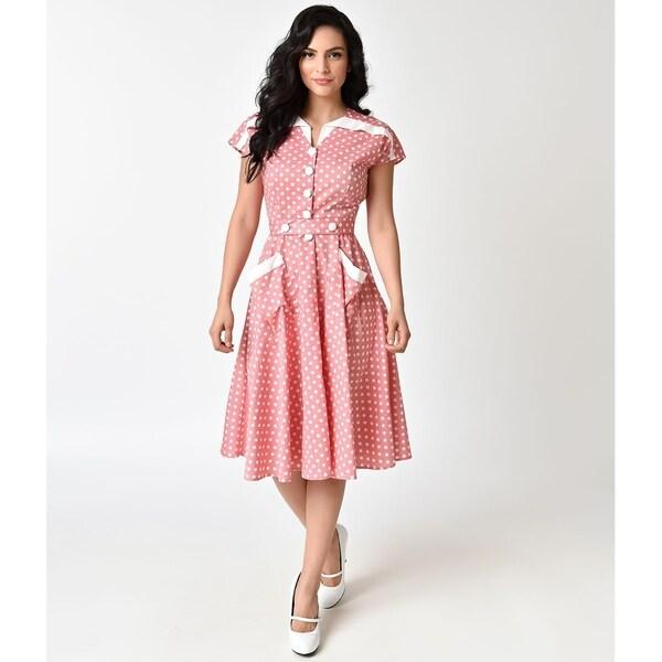 c3b877f46f693 Shop Unique Vintage Light Red & Ivory Dotted Hedda Swing Dress ...