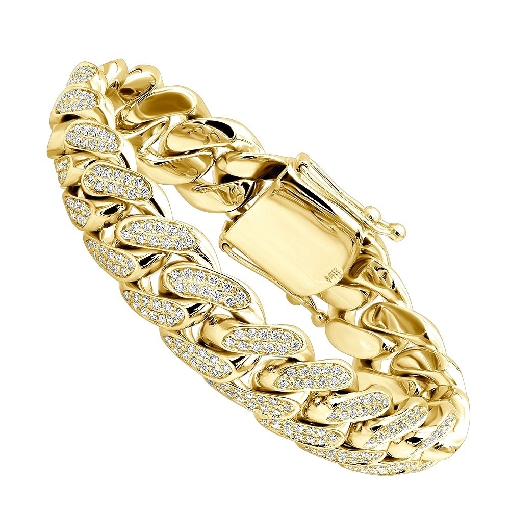 Solid 14k Gold Mens Miami Cuban Link Diamond Bracelet 17mm 9ctw G H Color By Luxurman