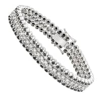 White and Black Diamond Tennis Bracelet For Men in 10k Gold 8.5ctw by Luxurman