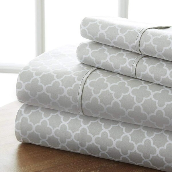 Elegant Comfort Luxury Silky Soft Cozy 4 Piece Wrinkle Free Quatrefoil Pattern Bed