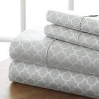 Elegant Comfort Luxury Silky Soft Cozy 4-Piece Wrinkle Free |QuatreFoil Pattern| Bed Sheet Set