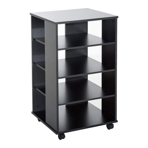 "HomCom 33"" Wooden Rolling 5 Shelf Media Center Display Storage Cart - Black"