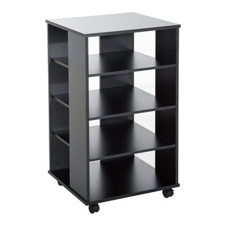 "HomCom 33"" Wooden Rolling 5 Shelf Media Center Display Storage Cart - Black"