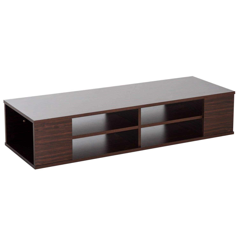 HomCom 48 Modern Wooden Floating Media Center Shelf Unit - Brown Woodgrain