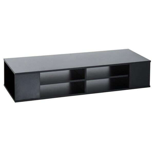 Shop Homcom 48 Quot Modern Wooden Floating Media Center Shelf Unit Matte Black Overstock 22381074