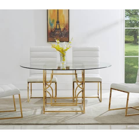Best Master Furniture 60 Inch Round Glass Dining Table
