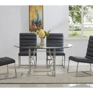 Best Master Furniture 60 Inch Round Glass Dining Table (Silver)