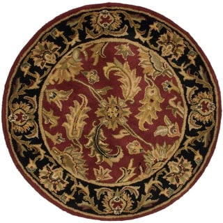 Safavieh Handmade Heritage Traditional Kashan Burgundy/ Black Wool Rug (4' x 4' Round)